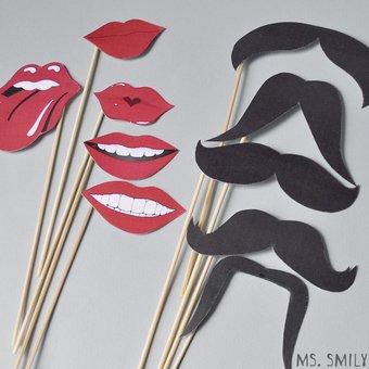 Усы и губы на палочках своими руками