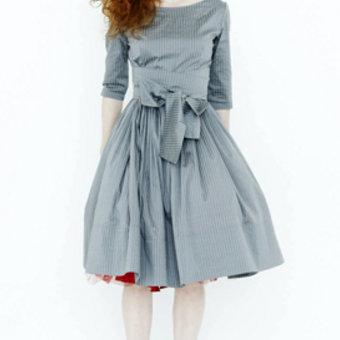 Платье серо голубое в полоску