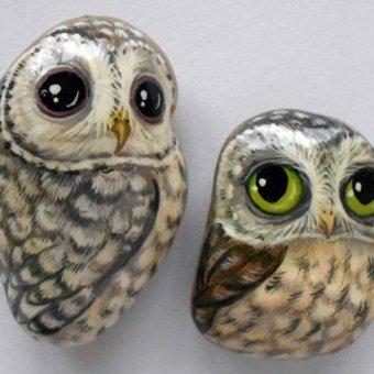 Роспись на камне совы