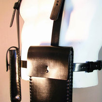Black cartridge pouches with belts